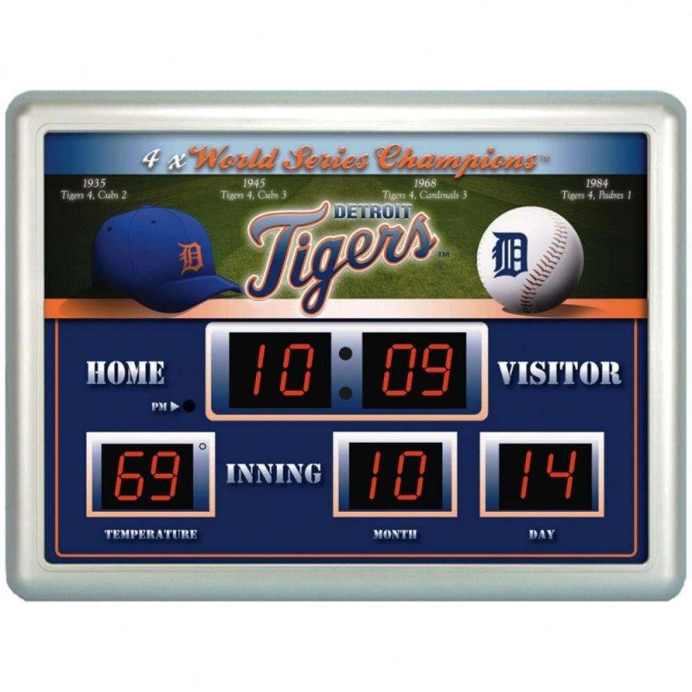 null Detroit Tigers 14 in. x 19 in. Scoreboard Clock with Temperature