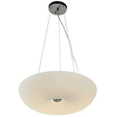 Swirled 3-Light 18 in. W Chrome Pendant with White Opal Glass