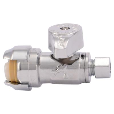 1/2 in. Push-to-Connect x 1/4 in. O.D. Compression Chrome-Plated Brass Quarter-Turn Straight Stop Valve