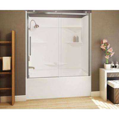 Alpine 56.5 in. - 59 in. x 75 in. Frameless Sliding Shower Door in Brushed Nickle