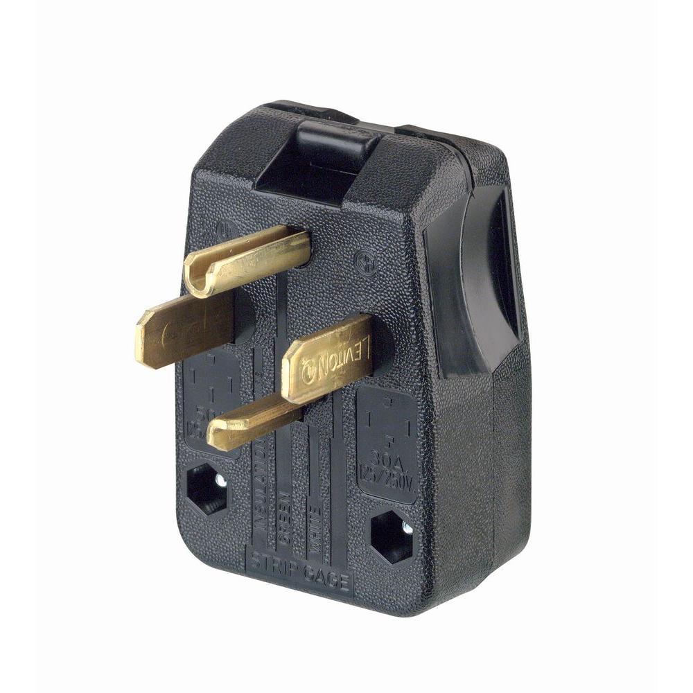 30/50 Amp 3-Pole Angle Plug, Black