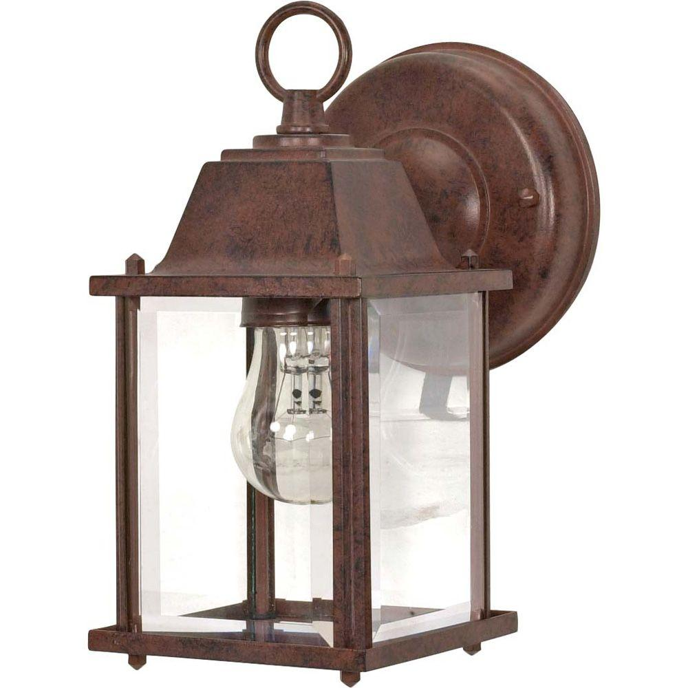 1-Light Old Bronze Outdoor Wall Lantern Cube Lantern with Clear Beveled