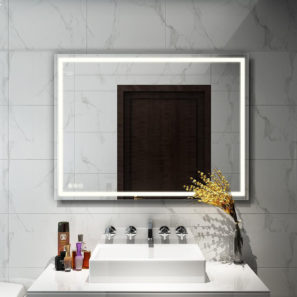 36 in. W x 48 in. H Frameless Rectangular LED Light Bathroom Vanity Mirror