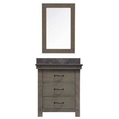 Aberdeen 30 in. W x 34 in. H Vanity in Gray with Granite Vanity Top in Limestone with White Basin, Mirror, and Faucet