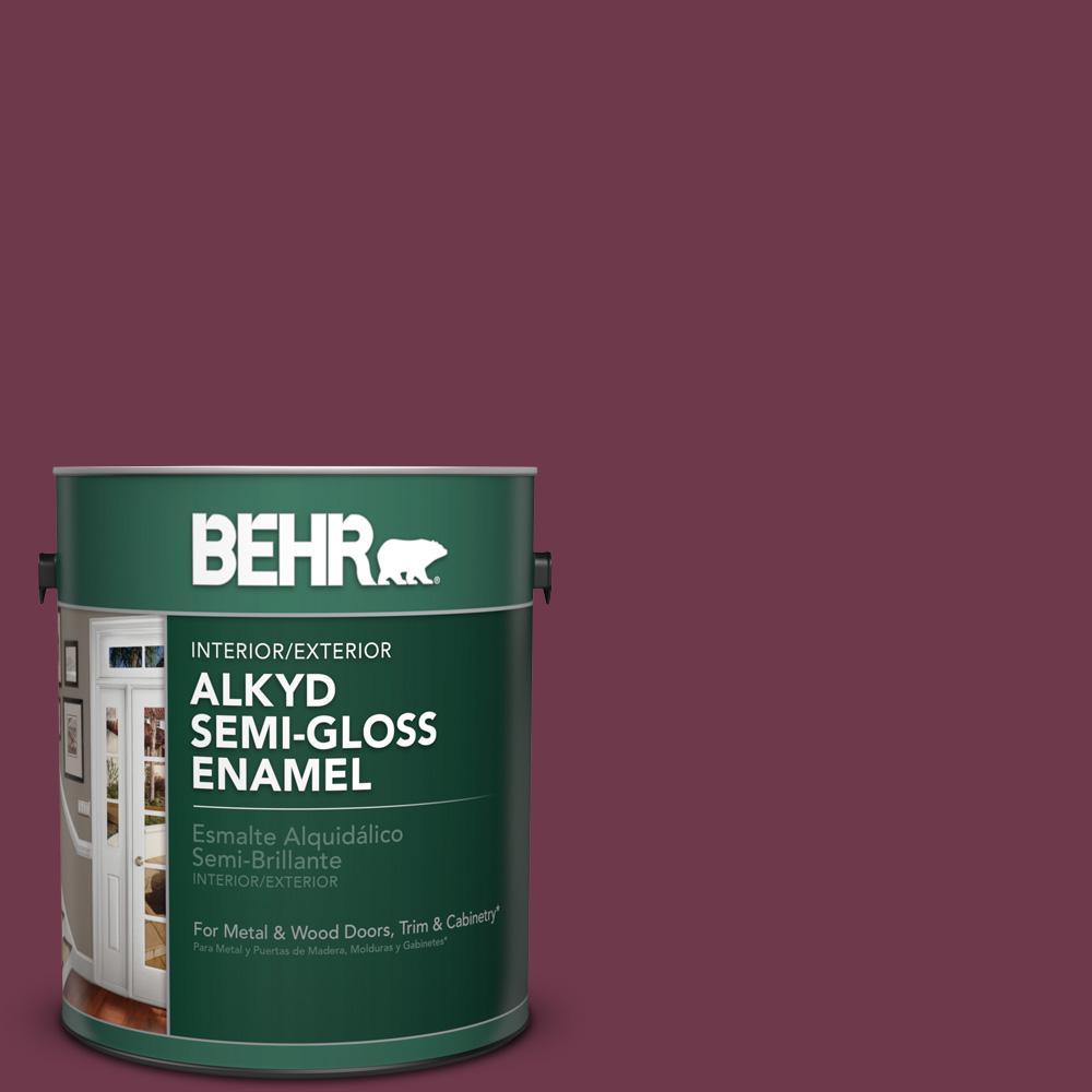 1 gal. #PPU1-14 Formal Maroon Semi-Gloss Enamel Alkyd Interior/Exterior Paint