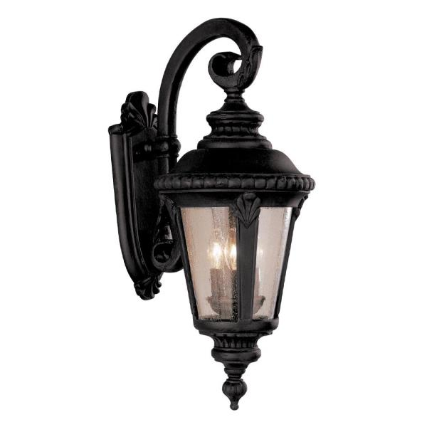Bel Air Lighting Breeze Way 3 Light Rust Outdoor Wall Lantern Sconce With Seeded Glass 5041 Rt The Home Depot