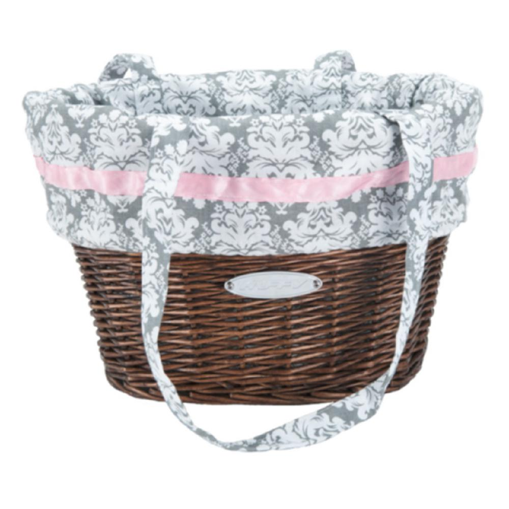 Huffy Natural Wicker Basket With White And Pink Liner