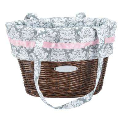 Natural Wicker Basket with White and Pink Liner
