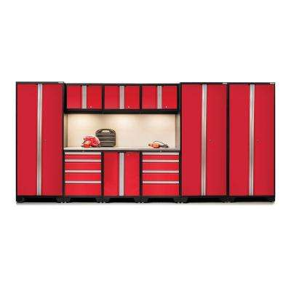 Bold 3 Series 77 in. H x 162 in. W x 18 in. D 24-Gauge Welded Stainless Steel Worktop Cabinet Set in Red (10-Piece)