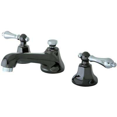Kate 8 in. Widespread 2-Handle Lever-Handles Bathroom Faucet in Black and Chrome