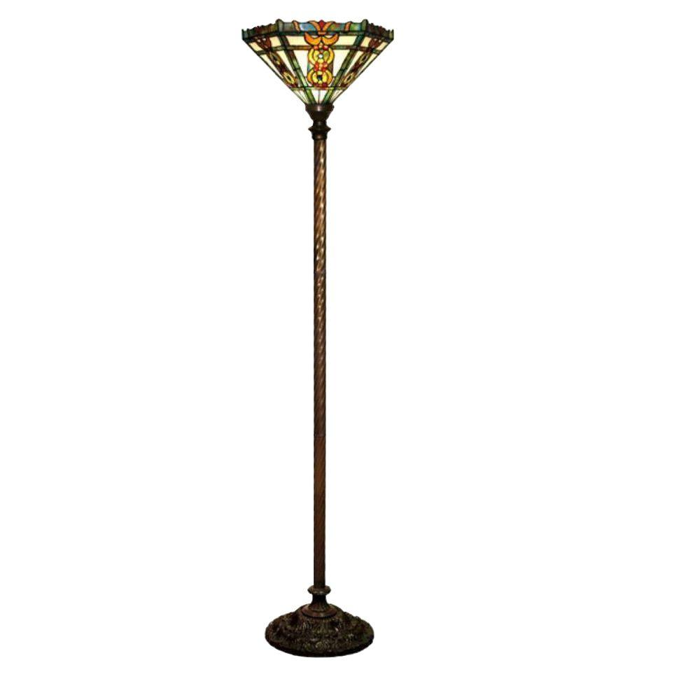 Warehouse of Tiffany 72 in. Antique Bronze Roma Stained Glass Floor Lamp with Foot Switch