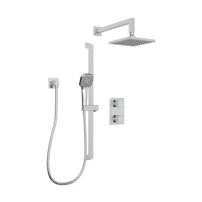 Quadrato 1-Spray Square Hand Shower and Showerhead from Wall Combo Kit with Slide Bar and Valve in Polished Chrome