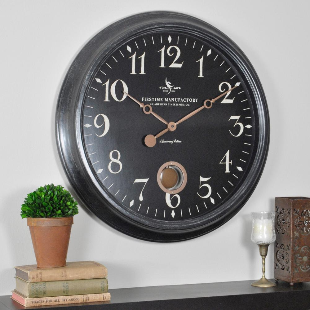 Firstime 24 in round varenna wall clock 25628 the home depot round varenna wall clock 25628 the home depot amipublicfo Choice Image
