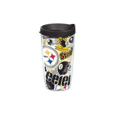 NFL Pittsburgh Steelers All Over 16 oz. Double Walled Insulated Tumbler with Travel Lid