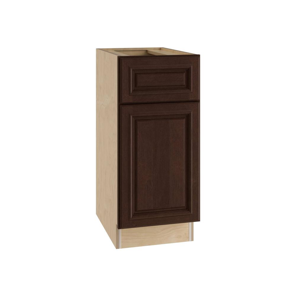 Home Decorators Collection Somerset Assembled 15x34.5x24 in. Single Door, Drawer & Rollout Tray Hinge Right Base Kitchen Cabinet in Manganite