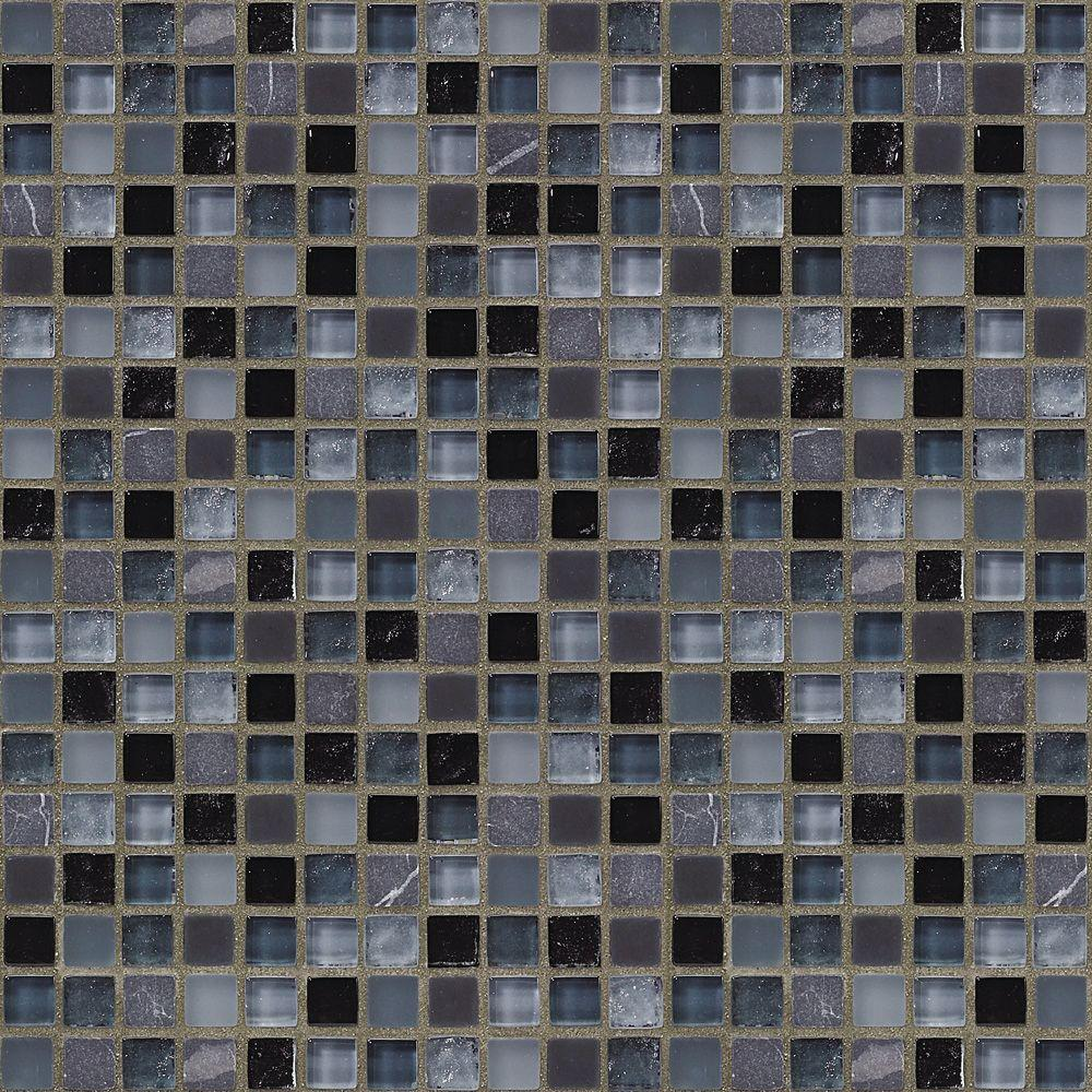 Black Azure 12 in. x 12 in. 8 mm Glass Marble