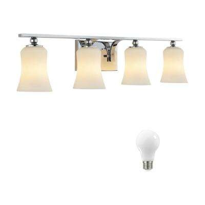 4-Light Chrome Square Bath Vanity Light with Etched White Glass, Dimmable LED Soft White Bulbs Included
