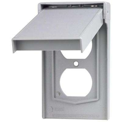 1-Gang Rain Tight Weather Resistant Duplex Receptacle Vertical Mount Wall Plate with Self-Closing Lid in Gray