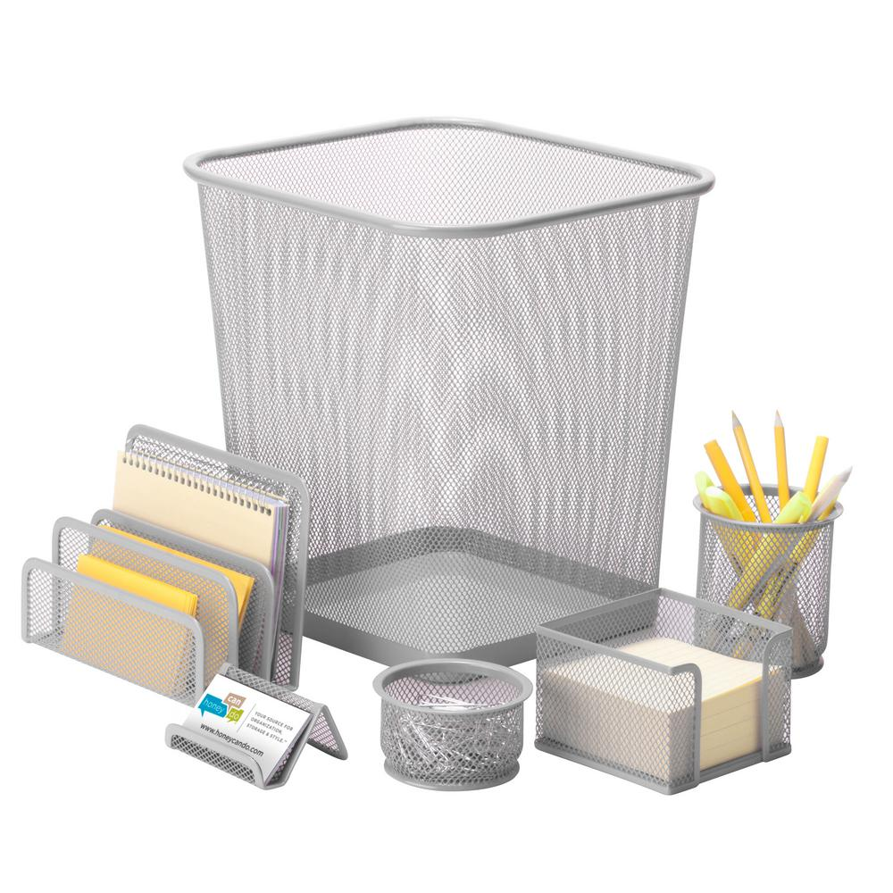 Honey Can Do 6 Piece Steel Mesh Desk Set In Silver