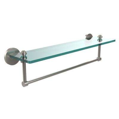 Southbeach Collection 22 in. Glass Vanity Shelf with Integrated Towel Bar in Satin Nickel