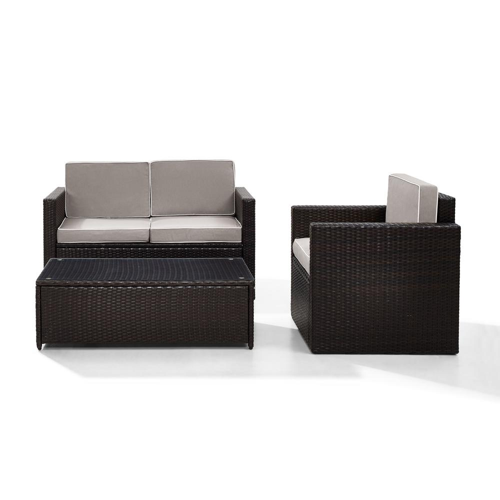Super Crosley Palm Harbor 3 Piece Outdoor Wicker Seating Set With Grey Cushions Loveseat Chair And Glass Top Table Alphanode Cool Chair Designs And Ideas Alphanodeonline