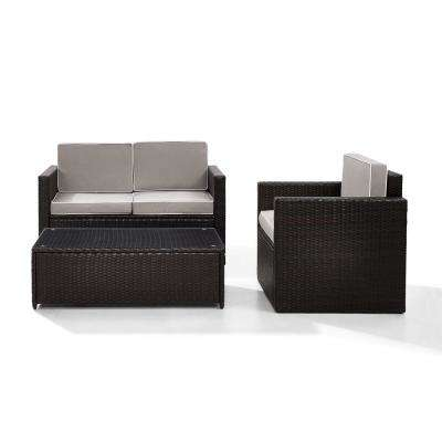 Palm Harbor 3-Piece Outdoor Wicker Seating Set With Grey Cushions-Loveseat, Chair and Glass Top Table