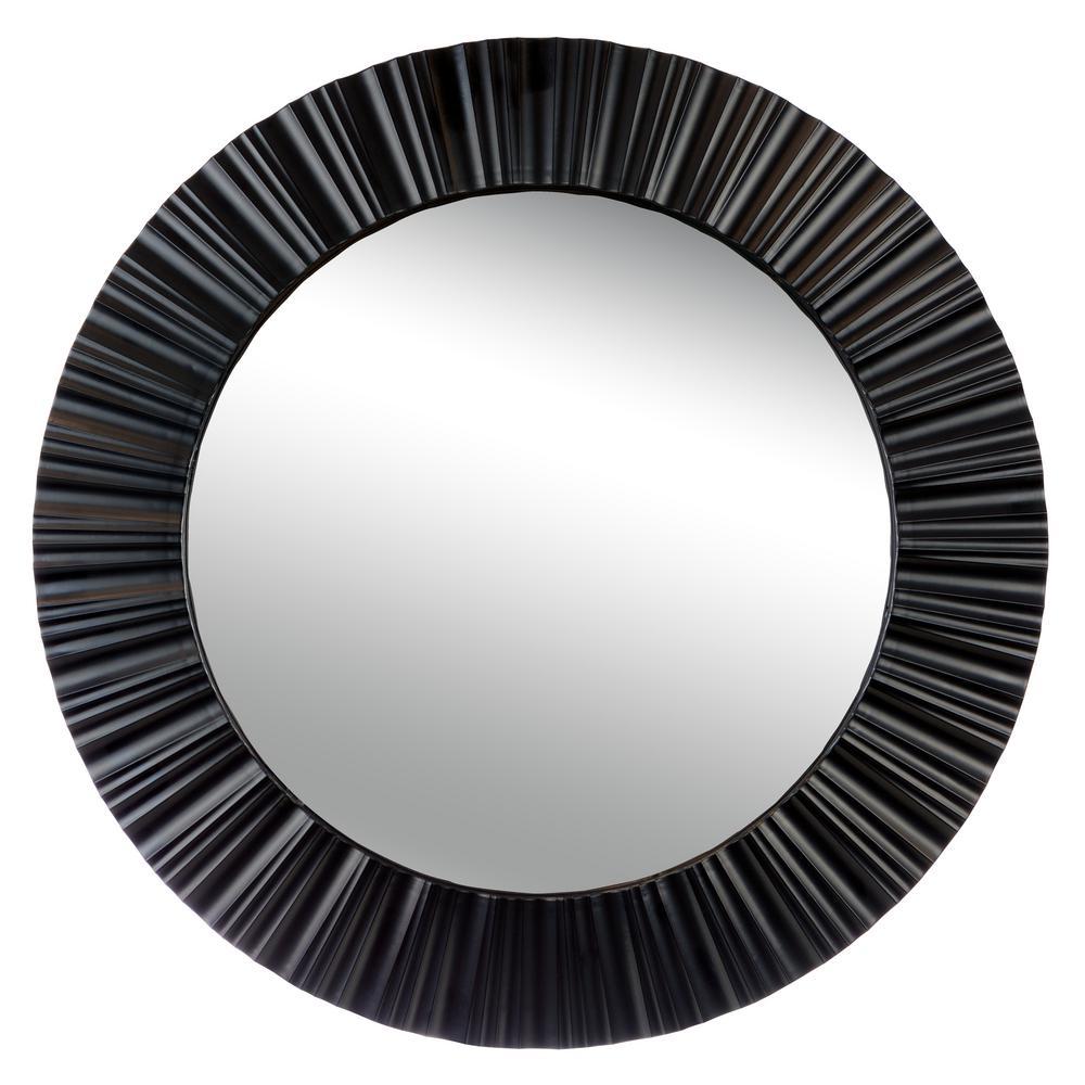 Medium Round Black Modern Mirror (20 in. H x 20 in. W)