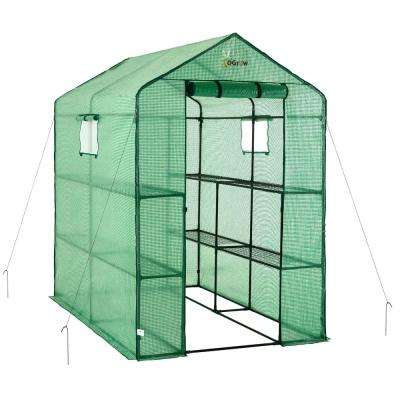 49 in. W x 74 in. D Large Heavy Duty Walk-In 2-Tier 8-Shelf Portable Lawn and Garden Greenhouse