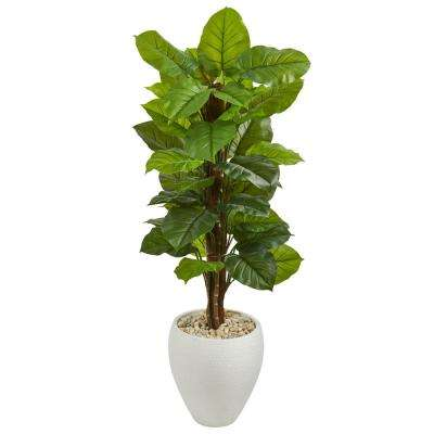 Real Touch 5 ft. Indoor Large Leaf Philodendron Artificial Plant in White Oval Planter