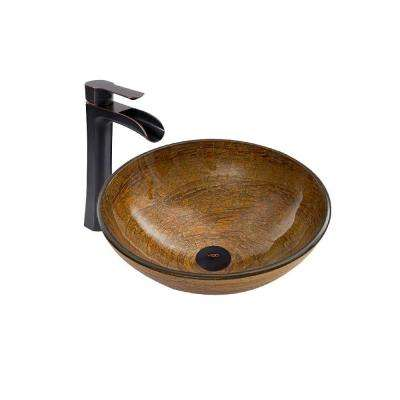 Vessel Sink in Cappuccino Swirl and Niko Faucet Set in Antique Rubbed Bronze