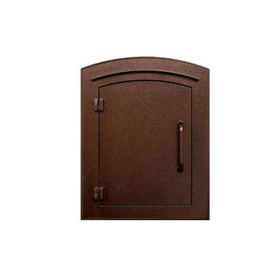 Manchester Antique Copper Column Mount Locking Drop Chute Mailbox with Plain Door Faceplate