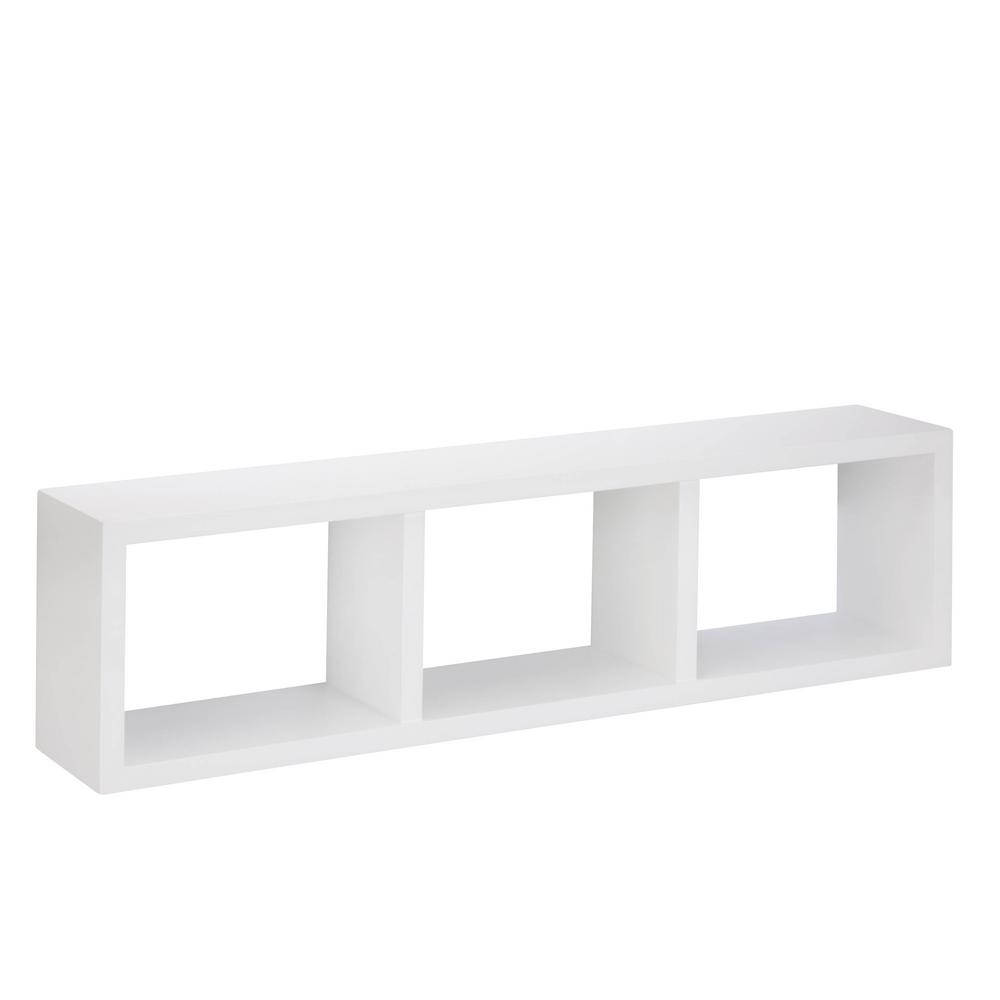Honey-Can-Do 29.53 in. W x 5.9 in. D Triple Cube Wall Shelf in White Decorative Shelf