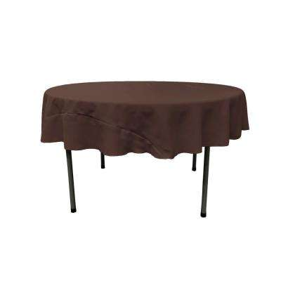 72 in. Brown Polyester Poplin Round Tablecloth