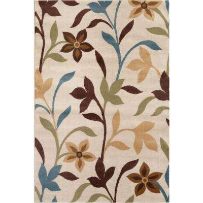 Modern Contemporary Leaves Design Cream 5 ft. x 7 ft. Indoor Area Rug