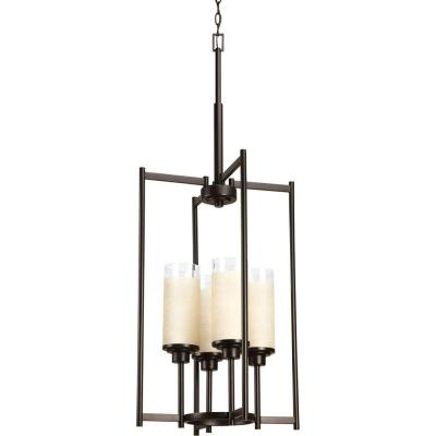 Alexa Collection 4-Light Antique Bronze Foyer Pendant with Etched Umber Linen Glass