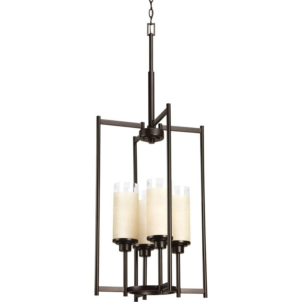 Alexa Collection 4 Light Antique Bronze Foyer Pendant With Etched Umber  Linen