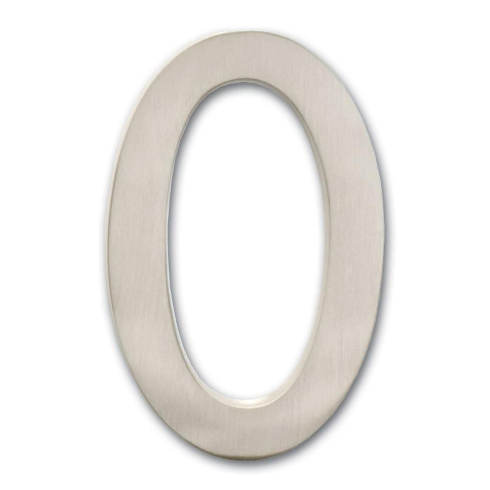 Architectural Mailboxes 4 in. Satin Nickel Floating House Number 0