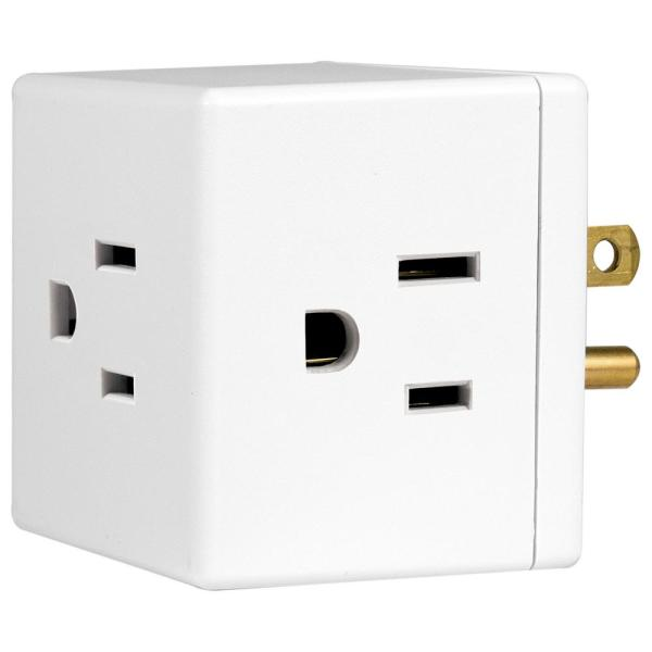 3-Outlet Grounded Cube Design Adapter, White