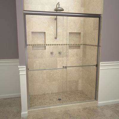 1000 Series 60 in. W x 70 in. H Semi-Frameless Sliding Shower Doors in Polished Chrome with Towel Bar and Clear Glass
