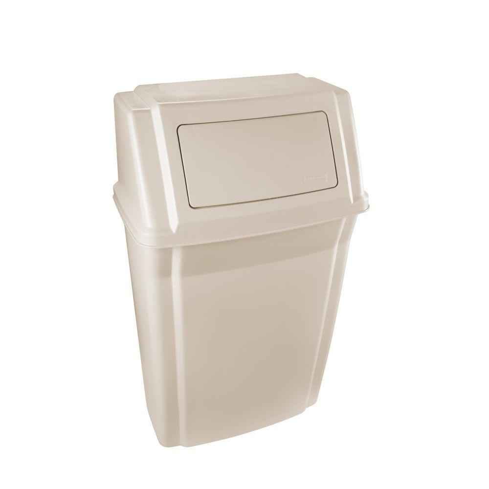 Rubbermaid commercial products slim jim 15 gal beige wall - Commercial bathroom waste receptacles ...
