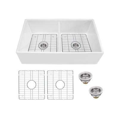 Farmhouse Apron Front Fireclay 33 in. 50/50 Double Bowl Kitchen Sink in White with Grids and Strainers