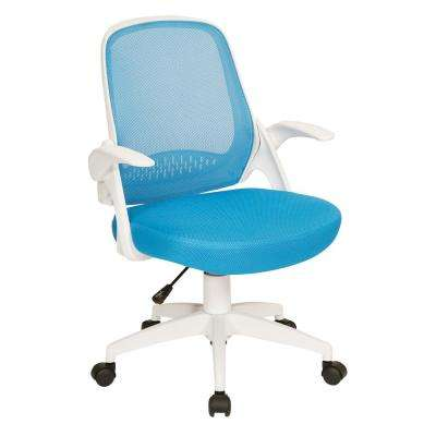Jackson Blue Mesh and White Frame Office Chair with Flip Arms
