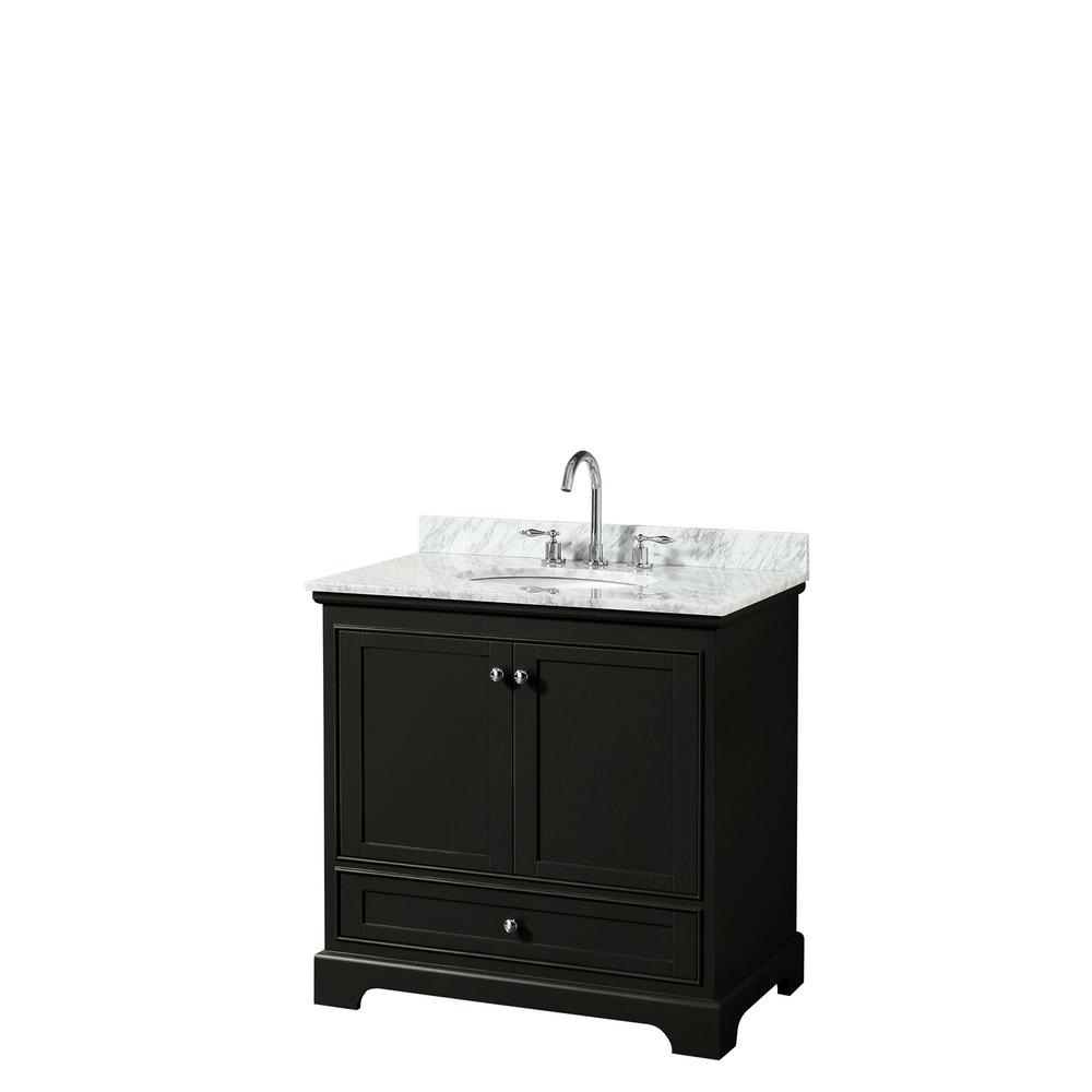 Wyndham Collection Deborah 36 in. Single Bathroom Vanity in Dark Espresso with Marble Vanity Top in White Carrara with White Basin