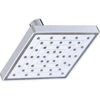 1-Spray 6 in. Square LED Color Change Showerhead in Chrome