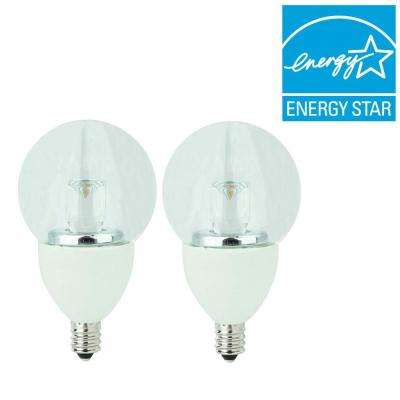 25W Equivalent Soft White (2700K) G16 Clear Candelabra Dimmable LED Light Bulb (2-Pack)