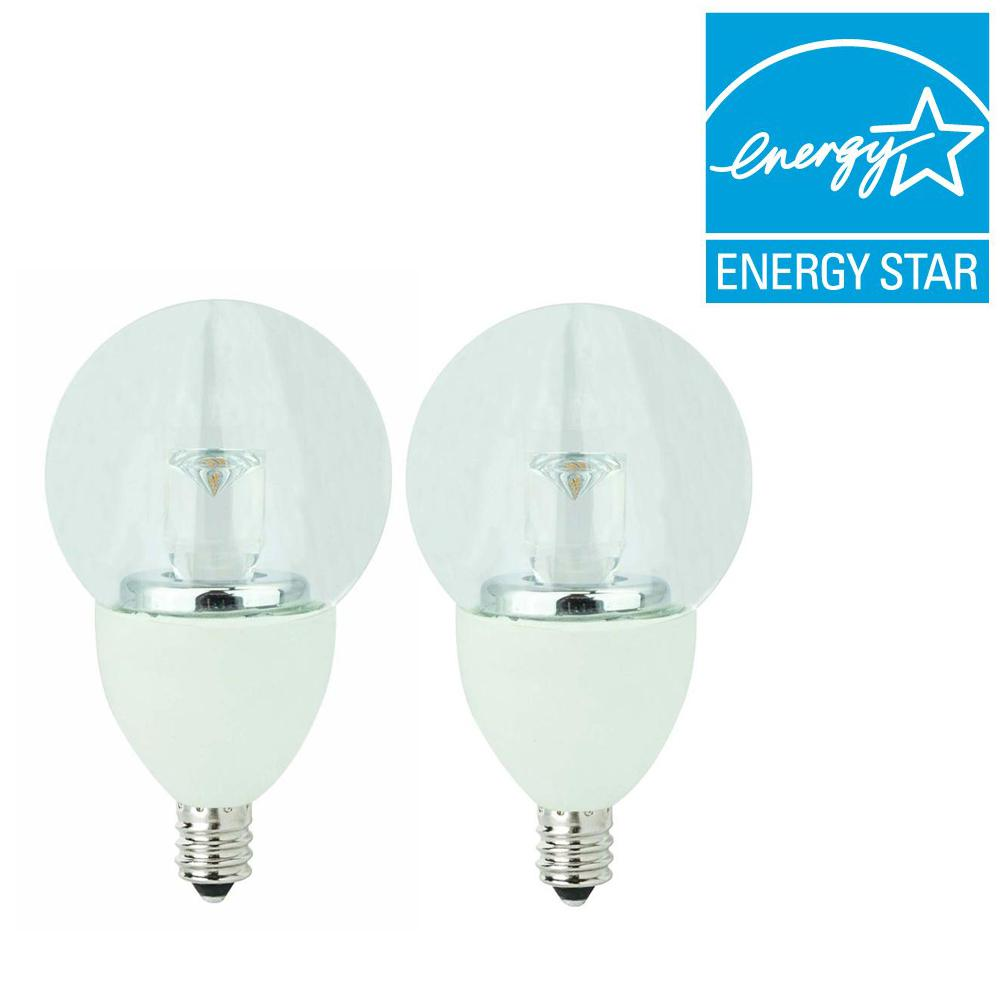 TCP 25W Equivalent Soft White (2700K) G16 Clear Candelabra Dimmable LED Light Bulb (2-Pack)