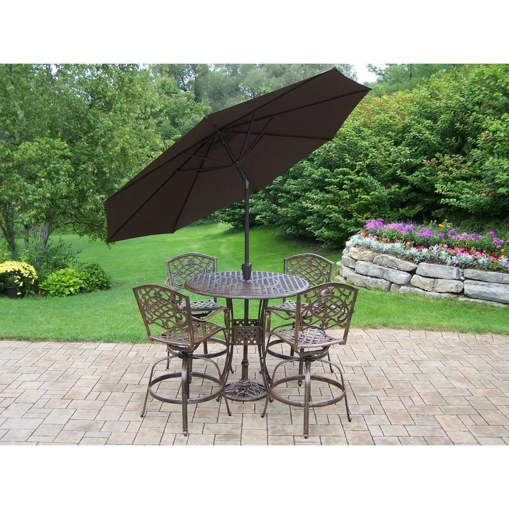 Oakland Living Elite Mississippi Cast Aluminum 5 Piece Swivel Patio Bar Set With Tilting Umbrella And Stand
