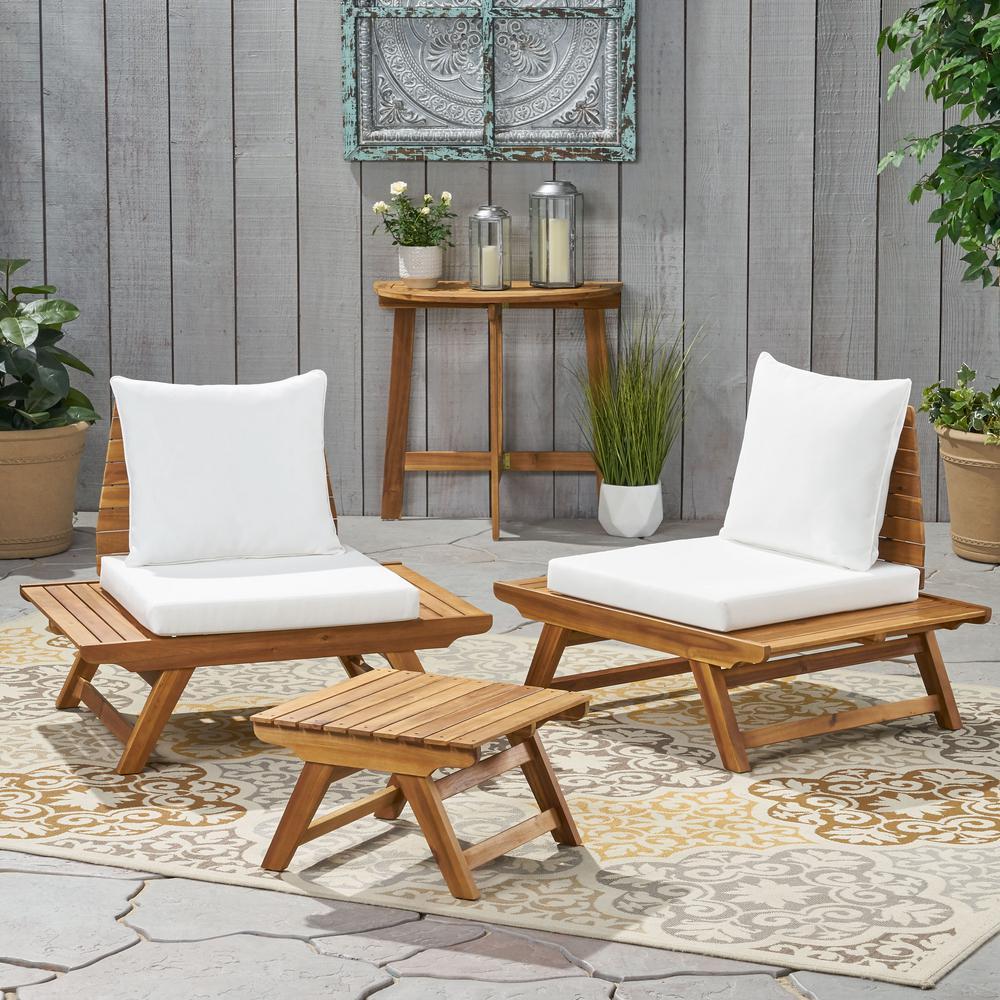 Noble House Kaiya Teak Brown 3-Piece Wood Patio Conversation Set with White Cushions