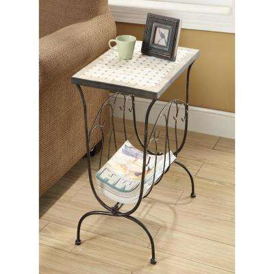 Tuscany Metal Travertine Top End Table