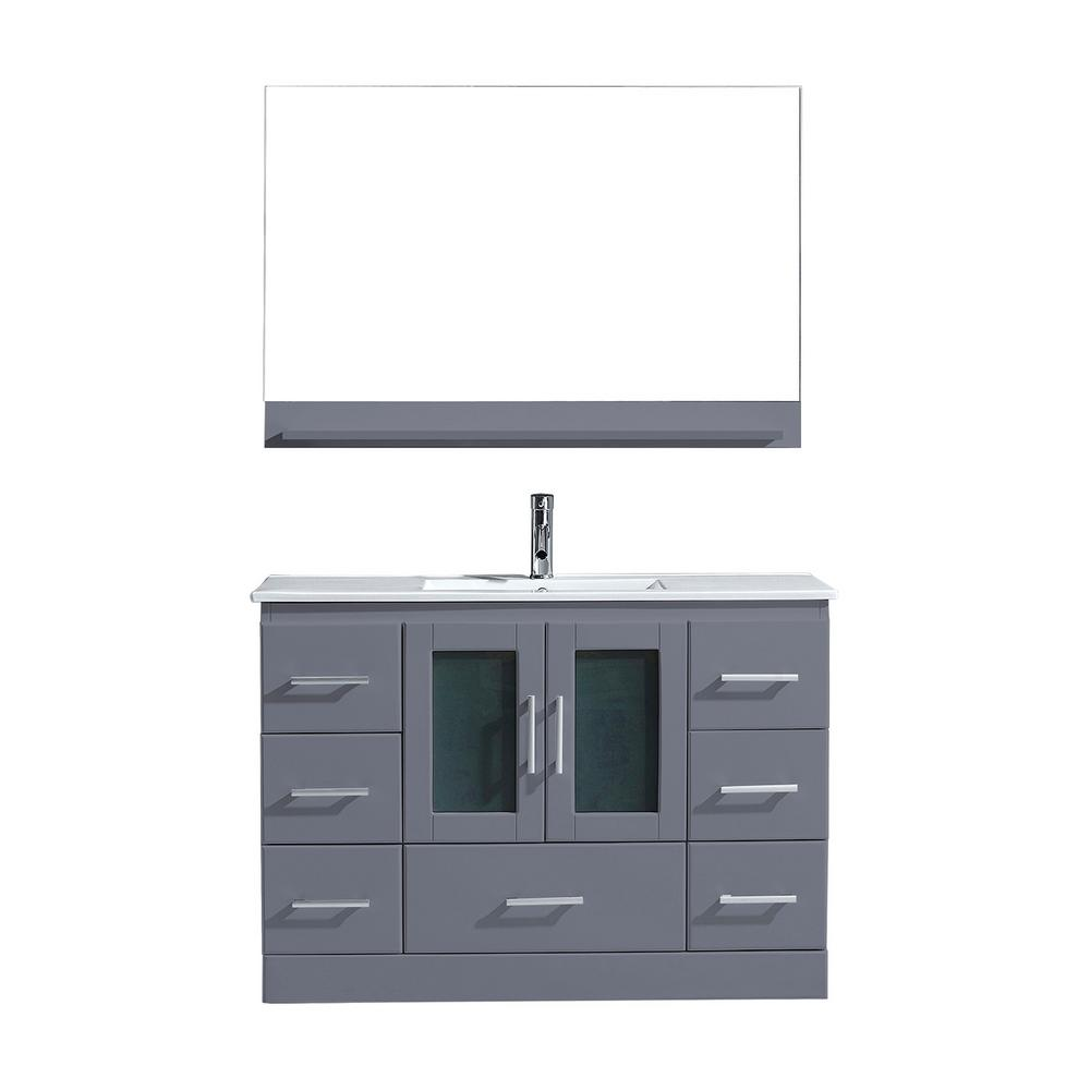 Virtu USA Zola 48 in. W Bath Vanity in Gray with Ceramic Vanity Top in Slim White Ceramic with Square Basin and Mirror and Faucet